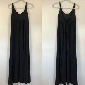 Theory tie back slinky stretch black maxi dress